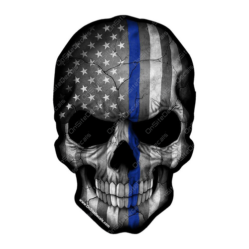 Blue Line American Flag Skull Decal