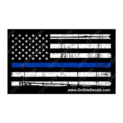 Blue Line American Flag Decal