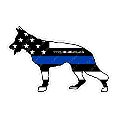 Blue Line American Flag K9 Decal