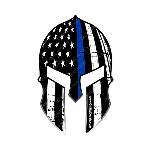 Blue Line American Flag Spartan Helmet Decal