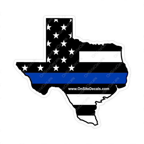 Blue Line American Flag Texas Decal