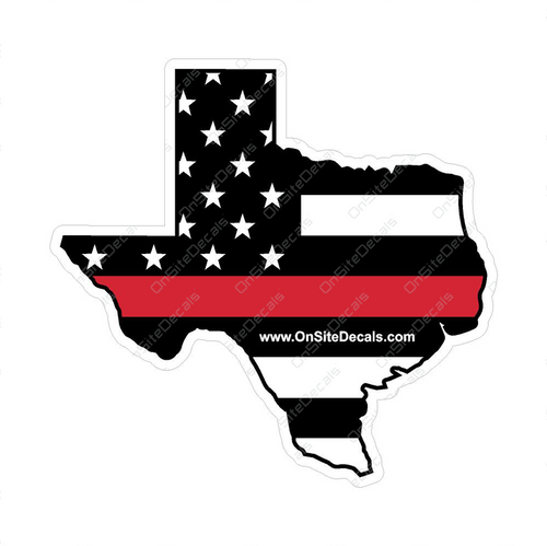 Red Line American Flag Texas Decal