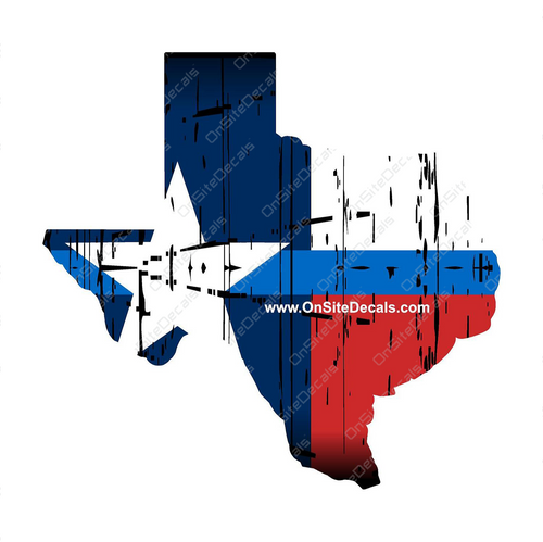 Blue Line Texas Flag Shape Decal