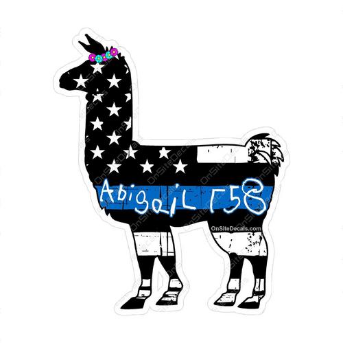Abigail Arias 758 Blue Line Llama Decal
