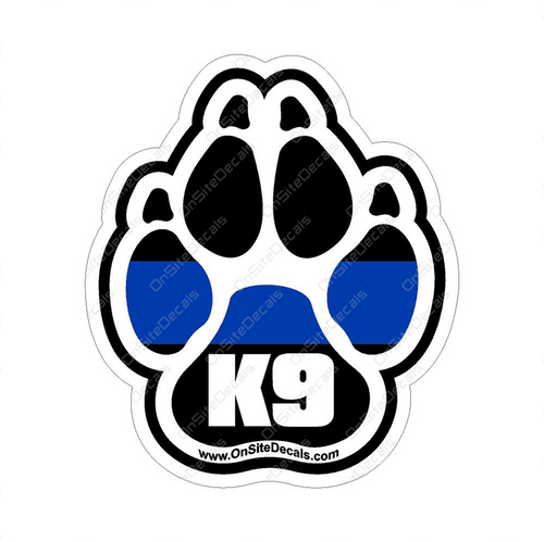 Blue Line K9 Paw Print Decal