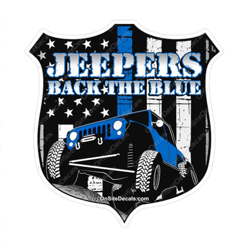 Jeepers Back the Blue Shield Decal