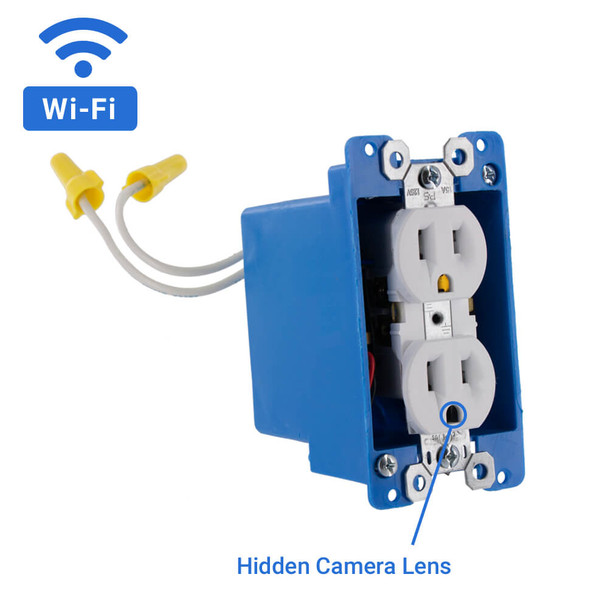 1080P HD WiFi Streaming AC Power Outlet Hidden Camera