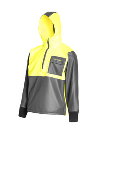Built with medium-weight polyurethane-coated fleece lined fabric this hooded anorak moves and stretches with you as you work on deck while delivering full protection against rain, wind, and spray. An athletic cut and underarm gussets further enhance comfort and movement.