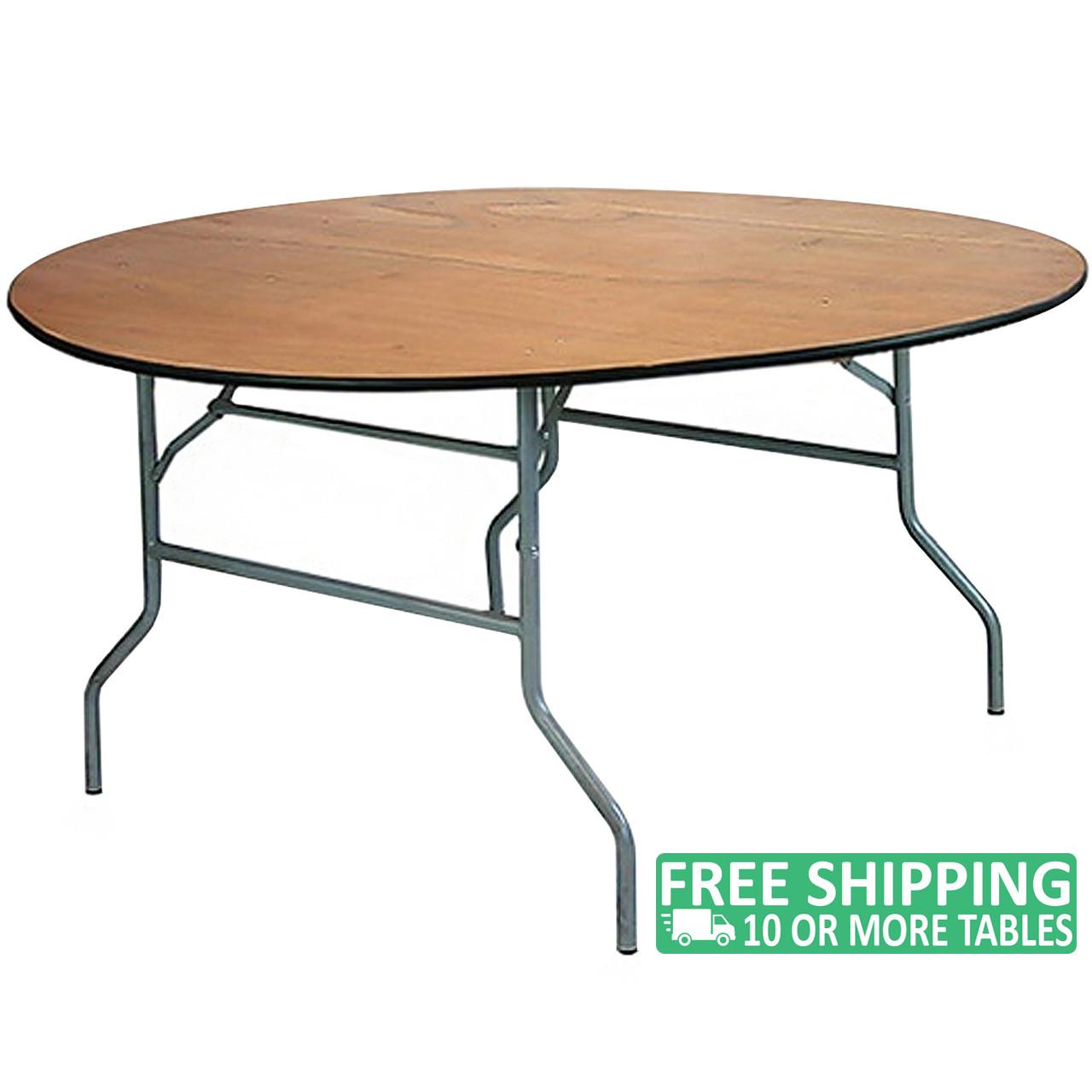 5 Ft Round Wood Folding Banquet Table [FTPW 60R] | AdvantageChurchChairs.com