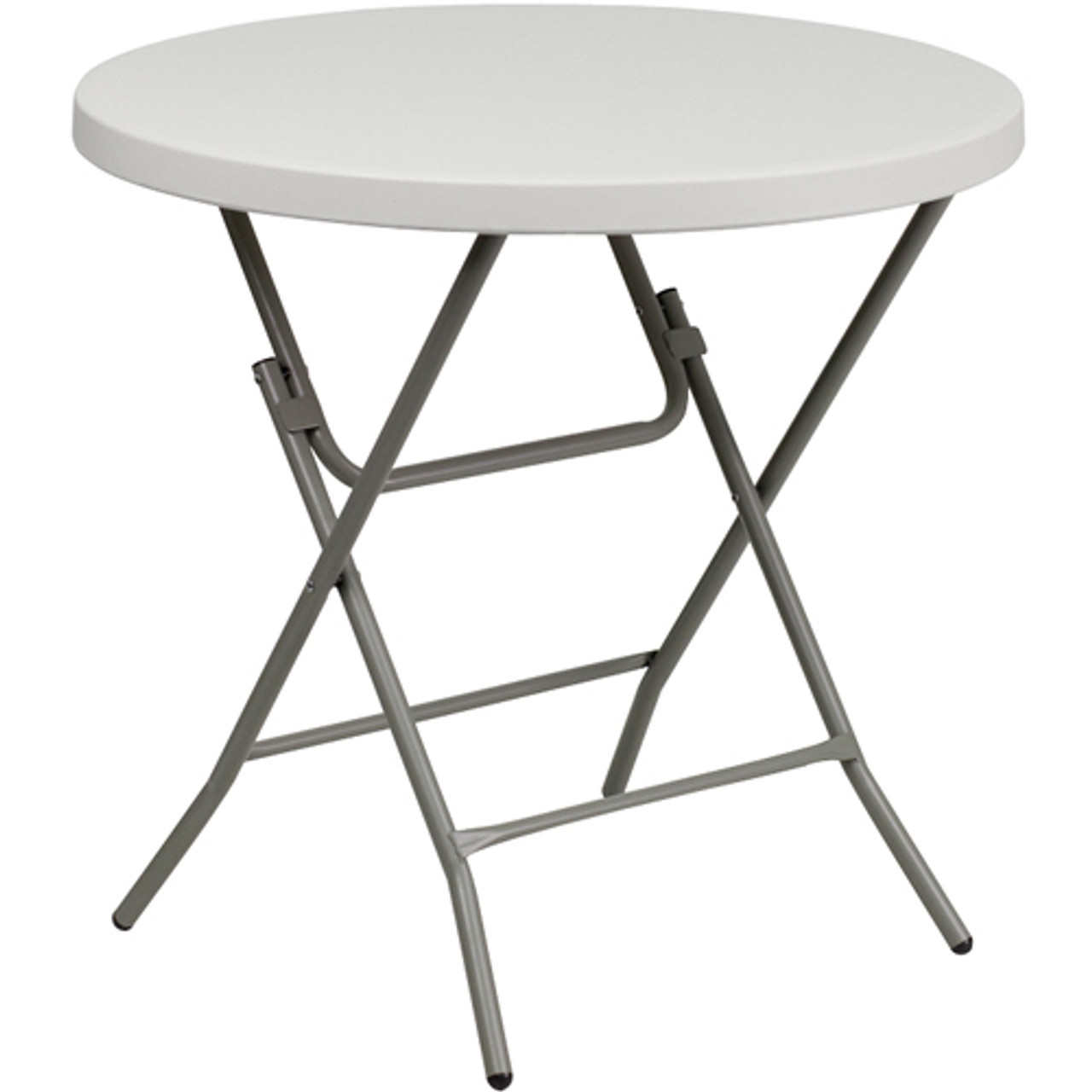 Advantage 32 In Round White Plastic Folding Table Adv 32rlz White White Granite