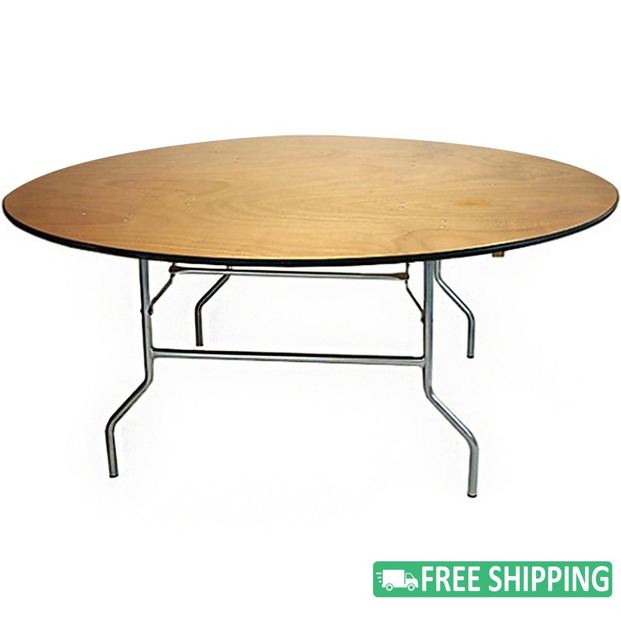 Bon 5 Pack: 6u0027 Round Wood Folding Banquet Tables [FTPW72R 05] | Round Wooden Banquet  Tables