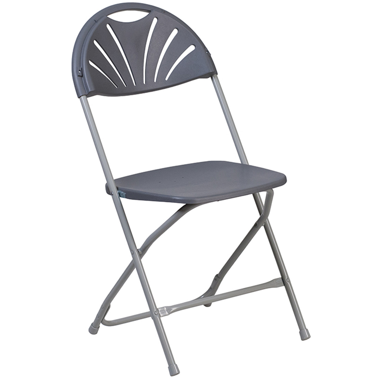 Lightweight Gray Fan Back Plastic Folding Chairs Foldable Chairs