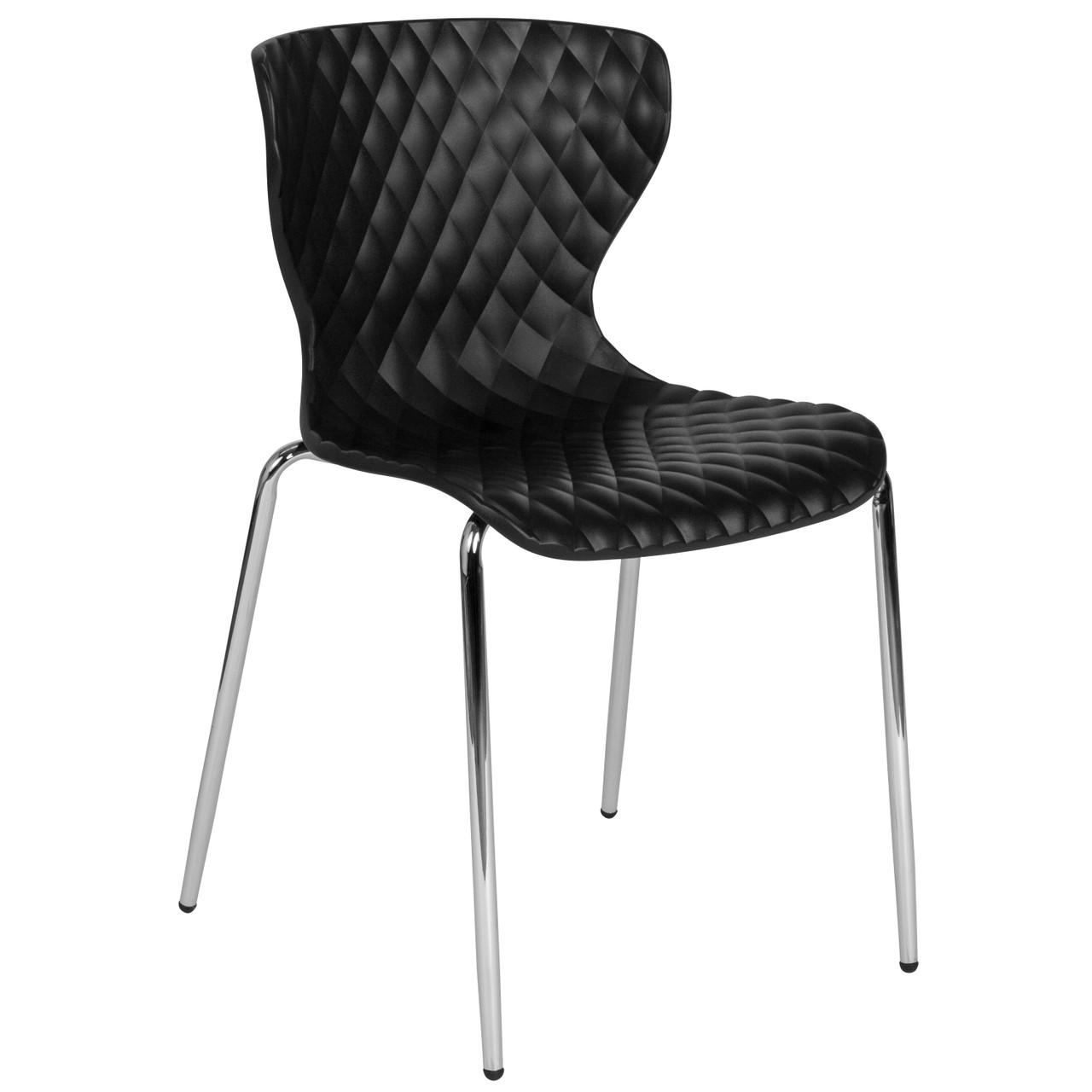 Advantage Lowell Contemporary Design Black Plastic Stack Chair Lf 7 07c Blk Gg