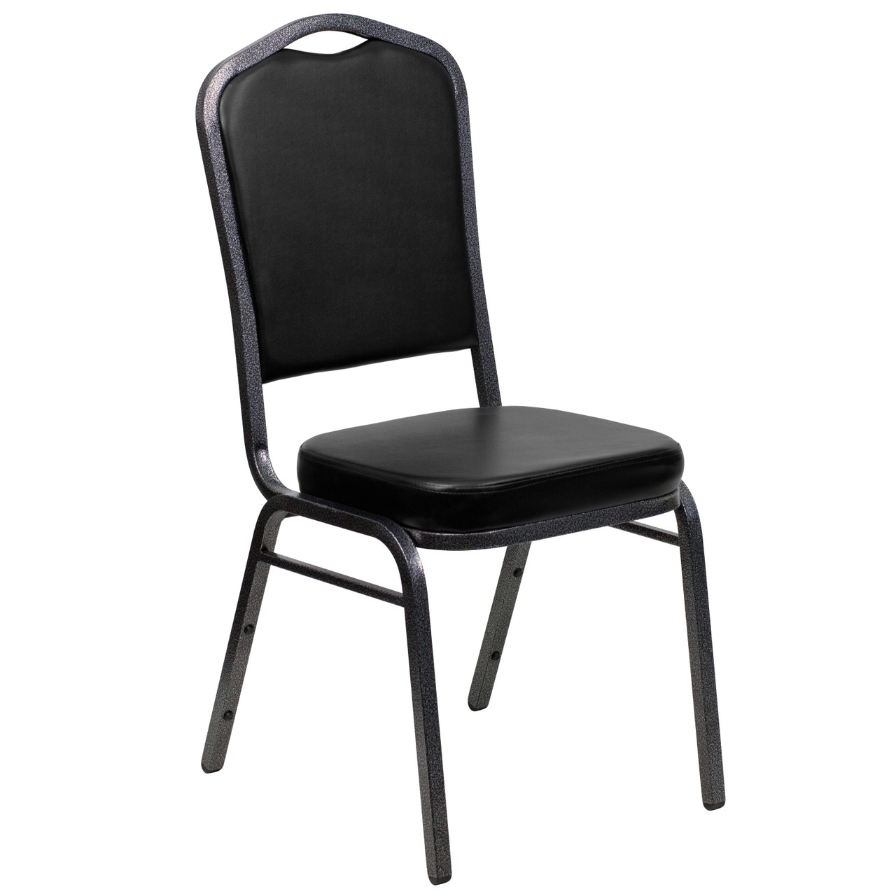 Banquet Chairs Black Vinyl Crown Back Stacking Chairs