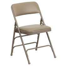 Advantage Beige Padded Folding Chair - Beige 1-in Vinyl Seat [HA-MC309AV-BGE-GG]