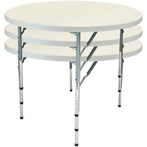 10-pack Advantage 4 ft. Round Adjustable Plastic Folding Table [FTD48R-ADJ-10] Seats 6 adults