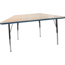 Advantage 30 in. x 60 in. Trapezoidal Adjustable Activity Table - Maple/Navy [AT3060TRAP-MN]