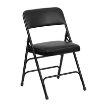 Advantage Black Padded Metal Folding Chair - Black 1-in Vinyl Seat [HA-MC309AV-BK-GG]