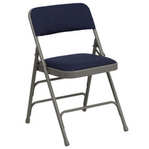 Advantage Grey Padded Folding Chair - Navy Blue 1-in Fabric Seat [HA-MC309AF-NVY-GG]