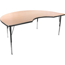 Advantage 48 in. x 72 in. Kidney-shape Adjustable Activity Table - Maple/Black [AT4872KID-MB]