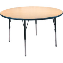 Advantage 48 in. Round Adjustable Activity Table - Maple/Navy [AT48R-MN]