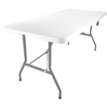 Advantage 6 ft. (30x72) Bifold Rectangular White Plastic Folding Table [ADV-3072LZ-BIFOLD]