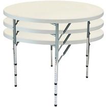 10-pack Advantage 5 ft. Round Adjustable Plastic Folding Table [FTD60R-ADJ-10] Seats 8 adults