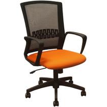 Advantage Black Mesh Office Chairs - Orange Padded Seat [KB-8929-ORANGE]