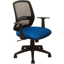Advantage Black Mesh Office Chairs - Contoured Blue Padded Seat [KB-2012-BLUE]