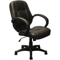 Advantage Mid-back Black Leather Executive Office Chairs [KB-9611B]