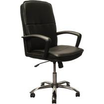 Advantage High Back Black Leather Executive Office Chair - Chrome Base [KB-3003]