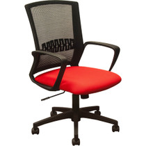 Advantage Black Mesh Office Chairs - Red Padded Seat [KB-8929-RED]