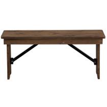 Advantage Barn Wood Brown Farmhouse Table Bench - 12 in. x 40 in. [FTB-1240-BA]