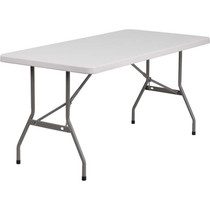 5-pack Advantage 5 ft. White Rectangular Plastic Folding Tables [5-RB-3060-GG]