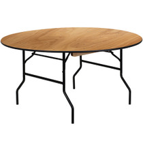 Advantage 5 ft. Round Wood Folding Banquet Table [YT-WRFT60-TBL-GG] seats 8 adults
