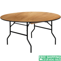 15-pack Advantage 5 ft. Round Wood Folding Banquet Table [15-YT-WRFT60-TBL-GG] seats 8 adults
