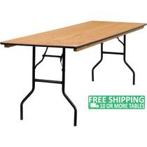 15-pack Advantage 8 ft. (30x96) Wood Folding Banquet Table - Rectangular [15-YT-WTFT30X96-TBL-GG]