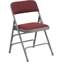 Advantage Grey Padded Folding Chair - Pattern Burgundy 1-in Fabric Seat [AW-MC309AF-BG-GG]