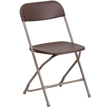 Advantage Brown Poly Folding Chair - Dining Height [LE-L-3-BROWN-GG]