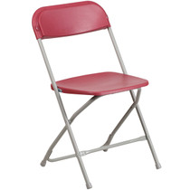 Advantage Red Poly Folding Chair - Dining Height [LE-L-3-RED-GG]