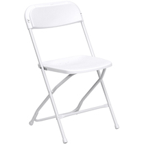 Advantage White Poly Folding Chair - Dining Height [LE-L-3-WHITE-GG]