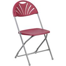Advantage Burgundy Fan Back Plastic Folding Chair [LE-L-4-BUR-GG]