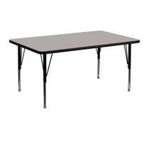 Advantage 24 in. x 48 in. Rectangular Adjustable Activity Table - Grey/Black [XU-A2448-REC-GY-H-P-GG]