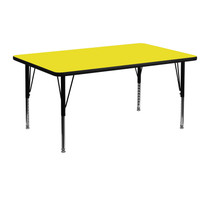 Advantage 24 in. x 48 in. Rectangular Adjustable Activity Table - Yellow/Black [XU-A2448-REC-YEL-H-P-GG]