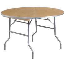 "Advantage 48"" Round Birchwood Folding Banquet Table 