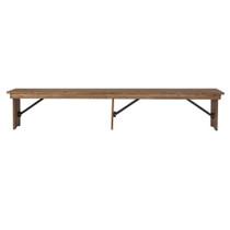 Advantage Antique Rustic Solid Pine Farmhouse Table Bench - 12 in. x 96 in. [XA-B-96X12-L-GG]