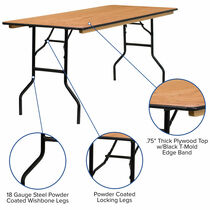 Advantage 6 ft. (30x72) Wood Folding Banquet Table - Rectangular [YT-WTFT30X72-TBL-GG]