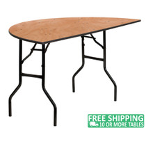 Advantage 5 ft. Half Round Wood Folding Banquet Table [YT-WHRFT60-HF-GG]