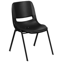 Advantage 440 lb. Capacity Kids Black Ergonomic Shell Stack Chair with Black Frame and 12'' Seat Height [RUT-12-PDR-BLACK-GG]