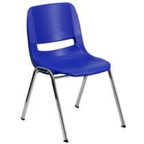 Advantage 440 lb. Capacity Kids Navy Ergonomic Shell Stack Chair with Chrome Frame and 14'' Seat Height [RUT-14-NVY-CHR-GG]